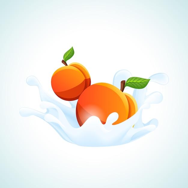 Apricots in milk splash Free Vector