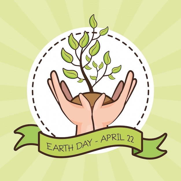 April 22 earth day, hands with plant, illustration Free Vector