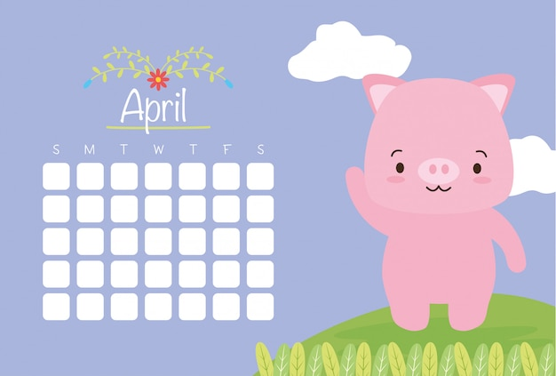 April calendar with cute piggy, flat style Free Vector