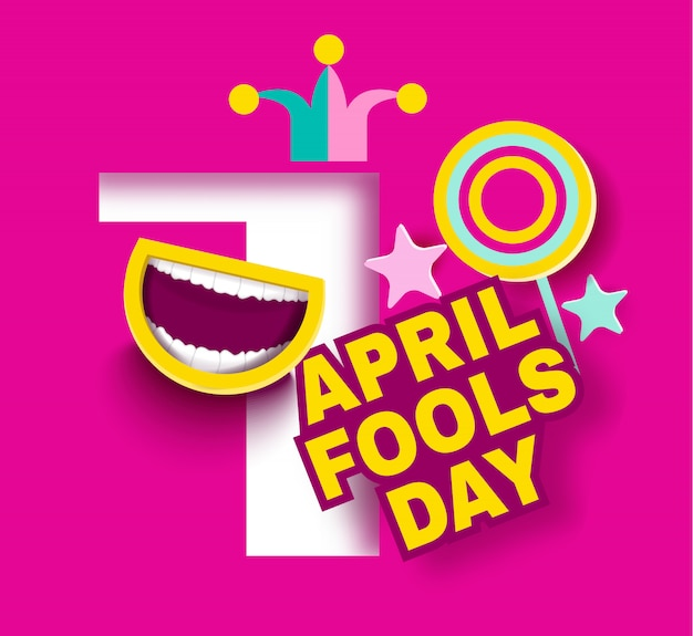 April fool 's day cartoon style Premium Vector