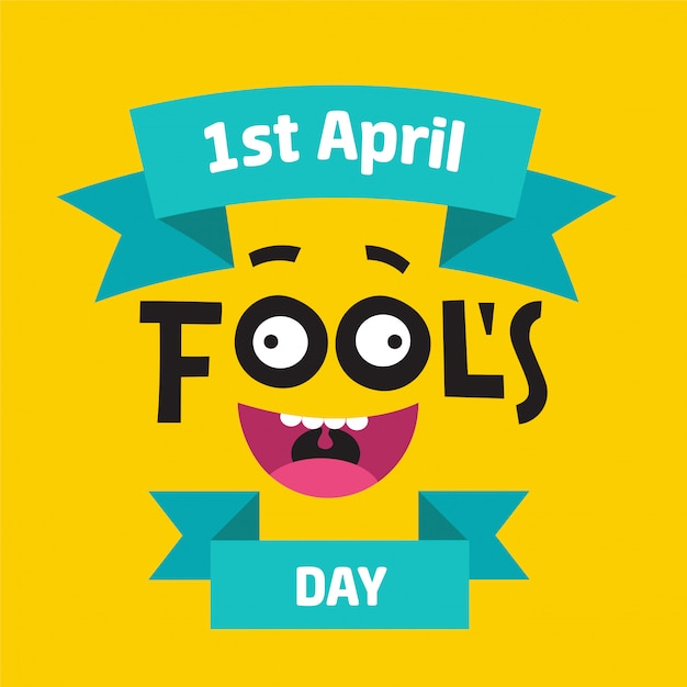 April fool's day concept with colorful text on yellow background Premium Vector