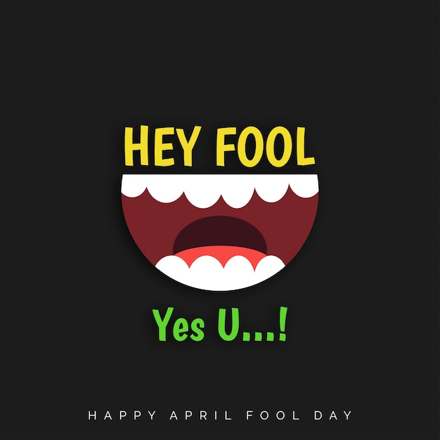 April fool's day, funny black background Free Vector