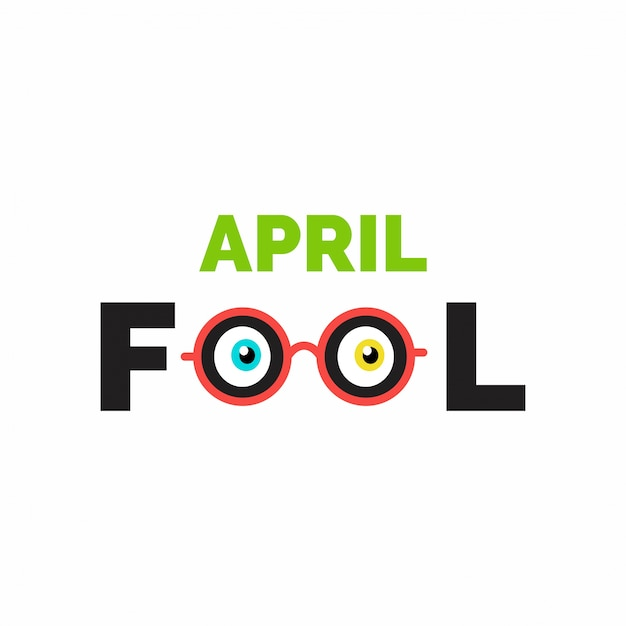 April fool's day, funny white background Free Vector