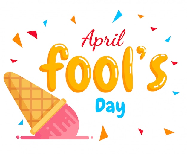 April fool's day text vector and fall ice-cream Premium Vector