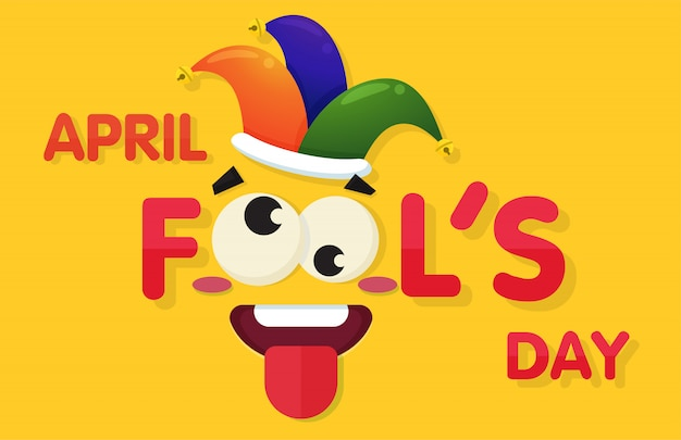 April fool's day with a funny face at the tongue lab. Premium Vector