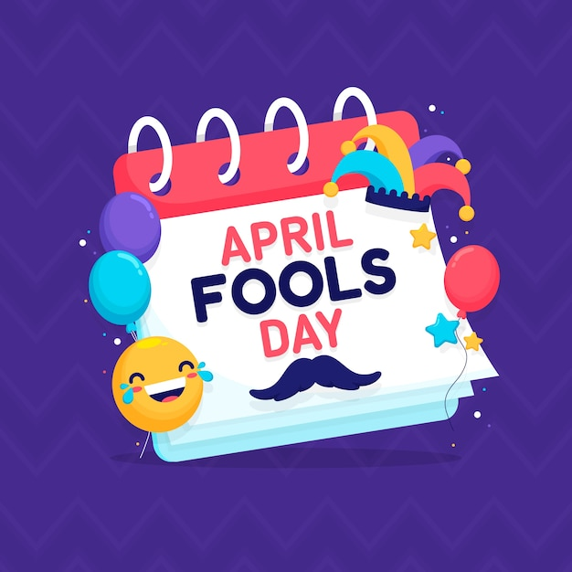 April fools day and calendar with balloons Premium Vector