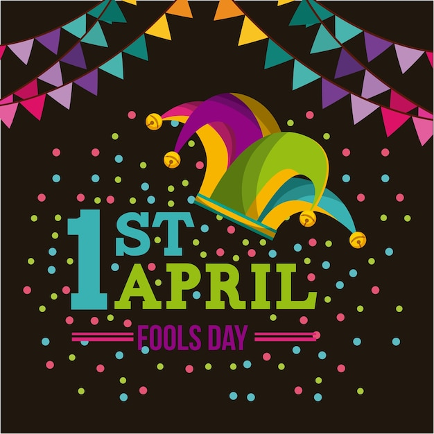 April fools day card with jester hat icon Premium векторы