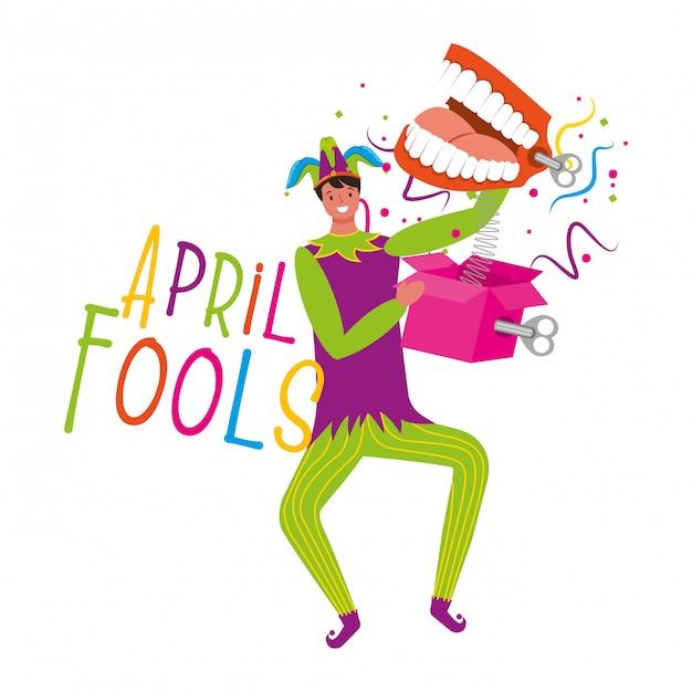 April fools day card Premium Vector