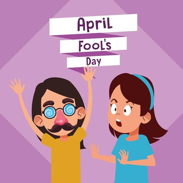 April fools day cartoon Premium Vector