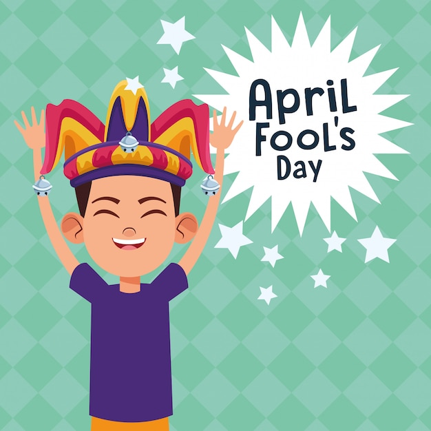 April fools day cartoon Premium Vector