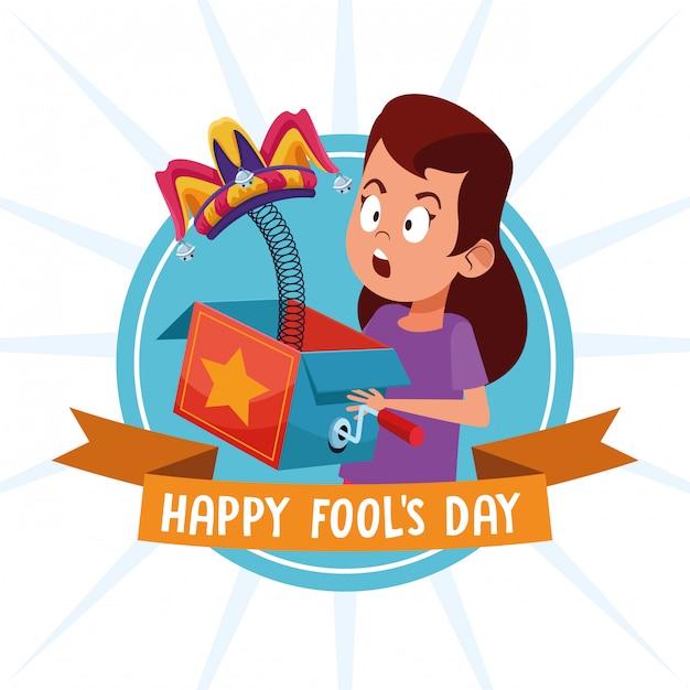 April fools day cartoons Premium Vector