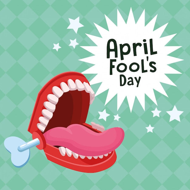 April fools day cartoons Premium Vector