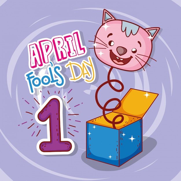 April fools day celebration with cat box Premium Vector