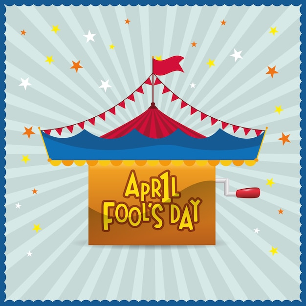 April fools day circus star background Premium Vector