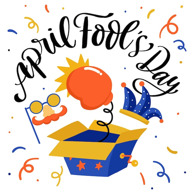 April fools day colorful drawing Free Vector