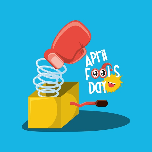 April fools day design with joke box with boxing glove icon Premium Vector
