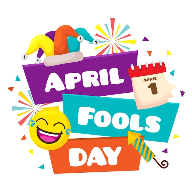 April fools day in flat design Free Vector