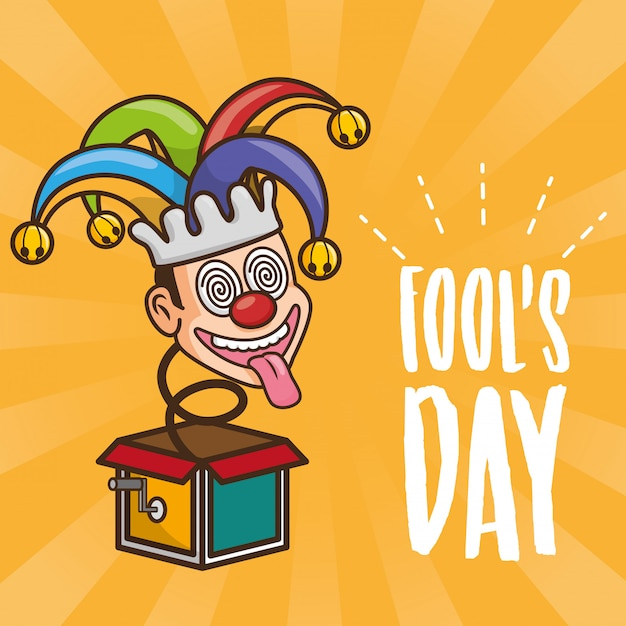 April fools day greeting with toy jester Free Vector