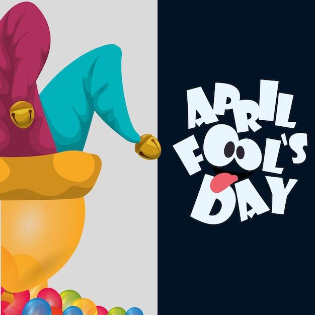April fools day hat joker balloons celebration card Premium Vector