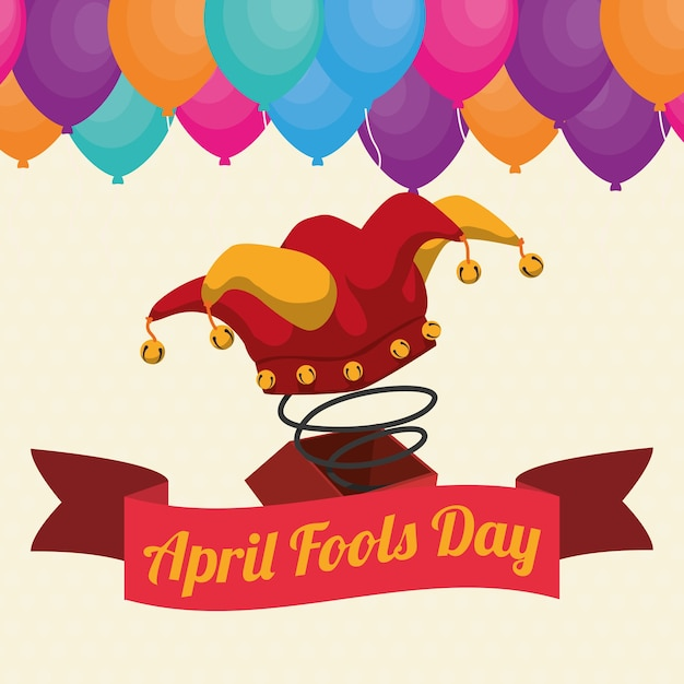 April fools day hat joker box ribbon balloons Premium Vector