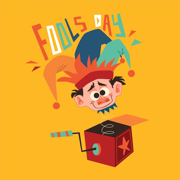 April fools day illustration with funny character Free Vector