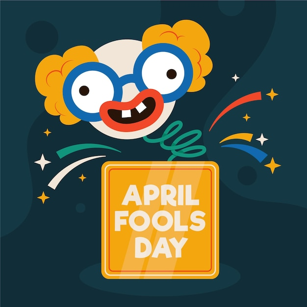 April fools' day illustration Premium Vector