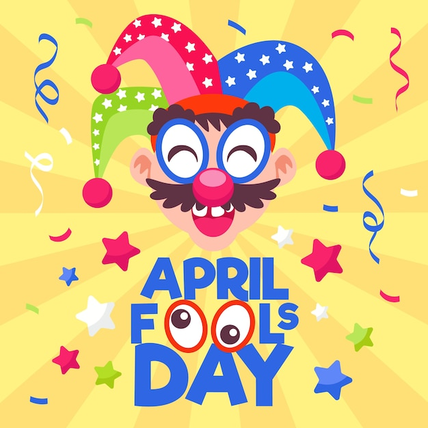 April fools day theme Free Vector