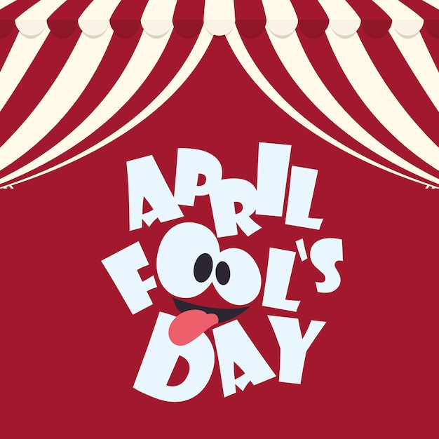 April fools day typographical red background Premium Vector