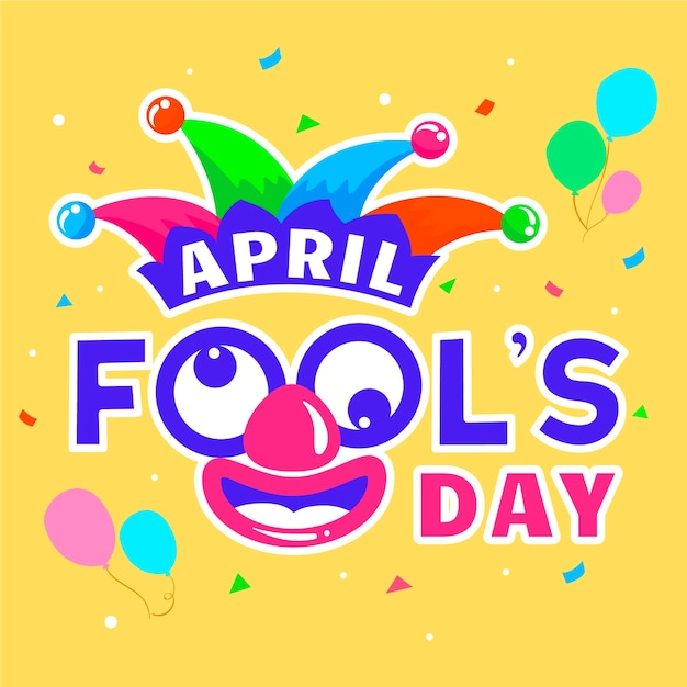 April fools day with balloons Free Vector