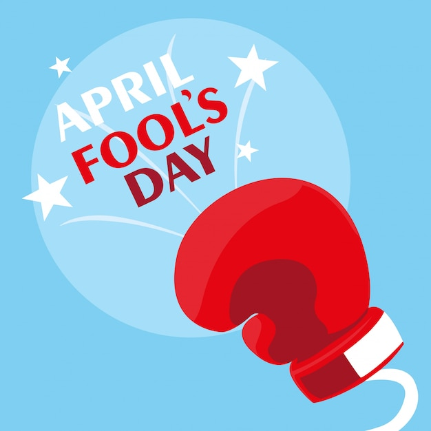 April fools day with boxing glove in spring Premium Vector