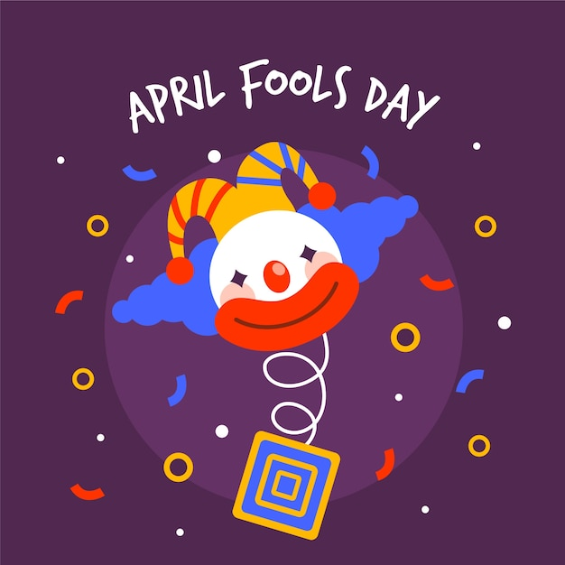April fools day with clown and confetti Free Vector
