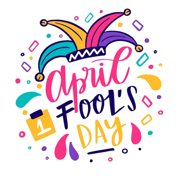 April fools day with clown hat Free Vector