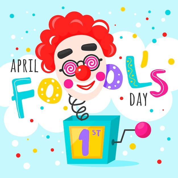 April fools day with clown Free Vector