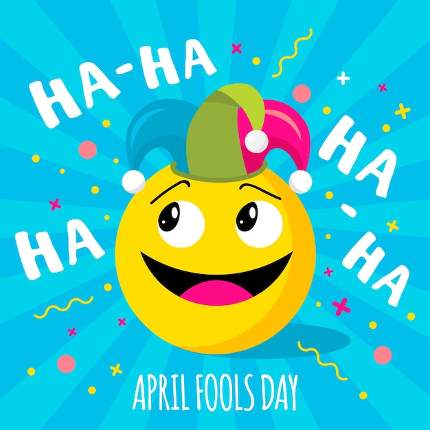 April fools day with emoji Premium Vector