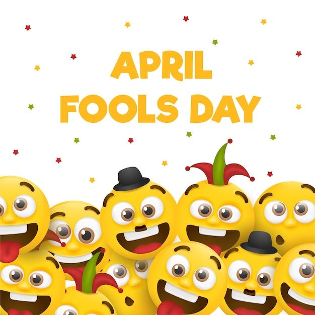 April fools day with emojis Free Vector