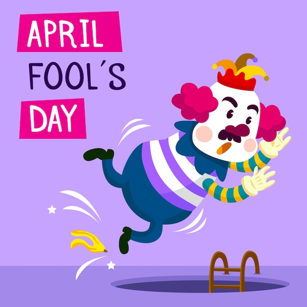 April fools day with funny clown Free Vector