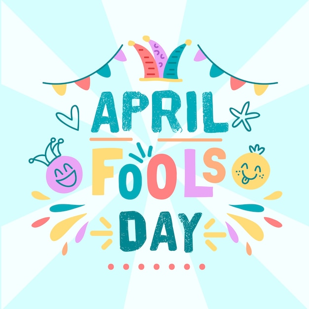 April fools day with garlands Free Vector