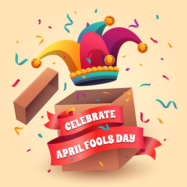 April fools day with jester hat Free Vector