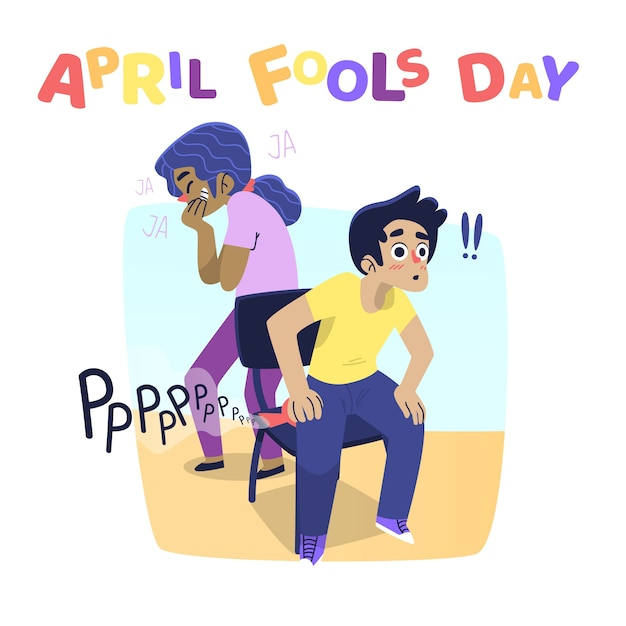 April fools day with people pranks Free Vector