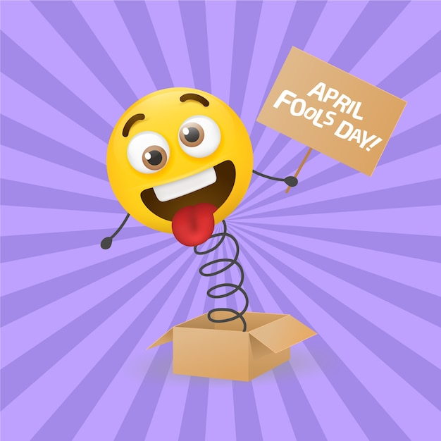 April fools day with realistic emoji Premium Vector