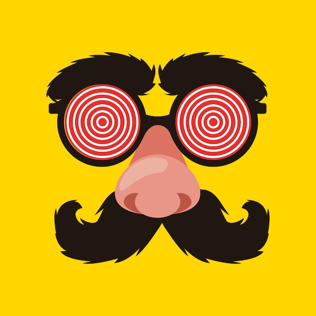 April fools glasses with mustache and nose Premium Vector