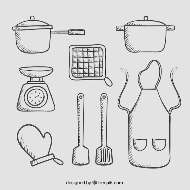 Пакет для посуды из фарфора и рисованной бумаги Бесплатные векторы