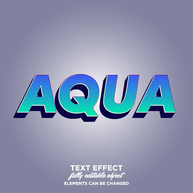 Aqua 3d text effect with awesome gradieny color Premium Vector
