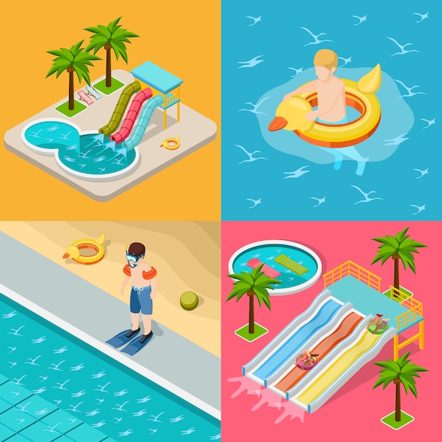 Aqua park composition isometric icon set Free Vector