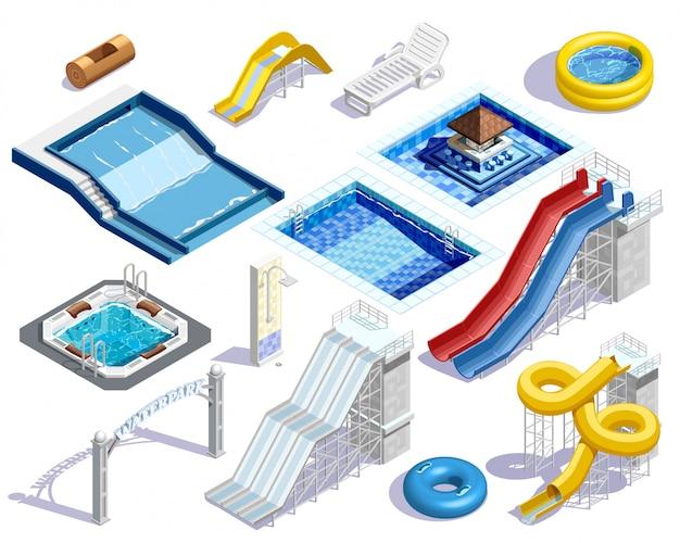Aqua park elements set Free Vector