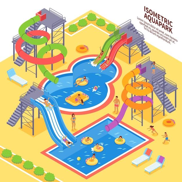 Aqua park illustration Free Vector