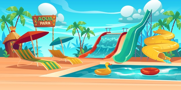Aqua park with water slides, swimming pool, loungers and umbrellas. Free Vector
