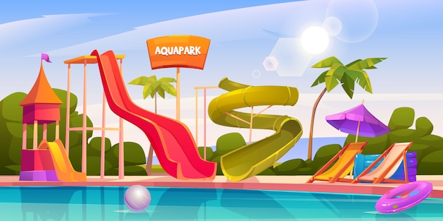 Aqua park with water slides and swimming pool Free Vector
