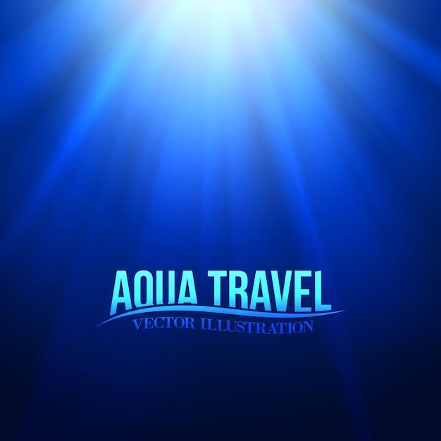 Titolo di viaggio aqua sull'ambiente sottomarino blu. Vettore gratuito
