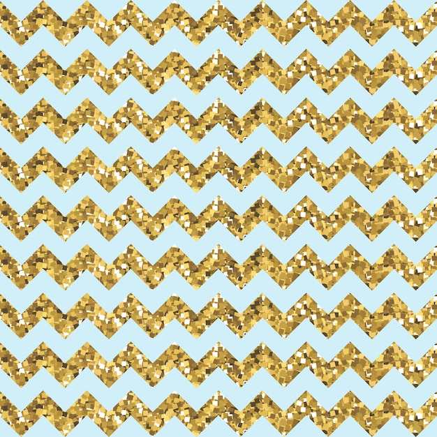 Aqua zigzag pattern with glittery gold effect Premium Vector
